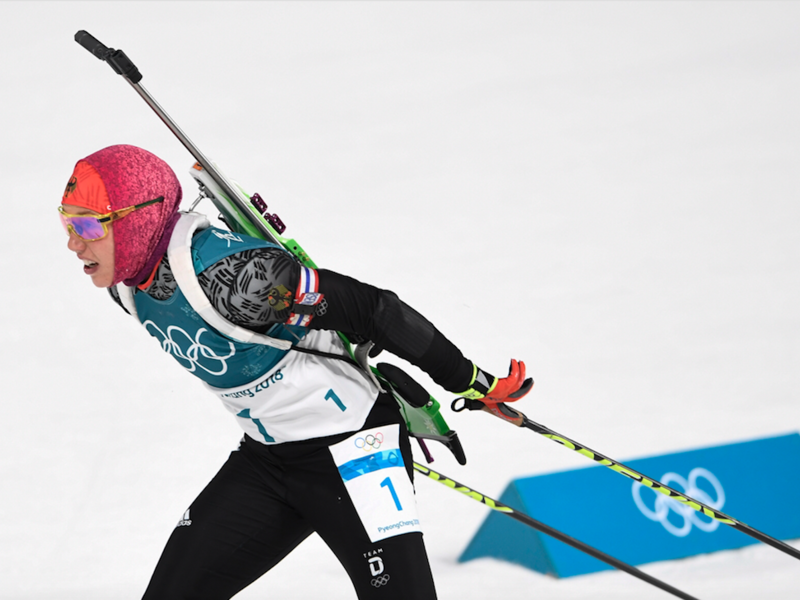 Germany's Laura Dahlmeier competes to win gold in the women's 10km pursuit biathlon event during the Pyeongchang 2018 Winter Olympic Games on February 12, 2018, in Pyeongchang. 