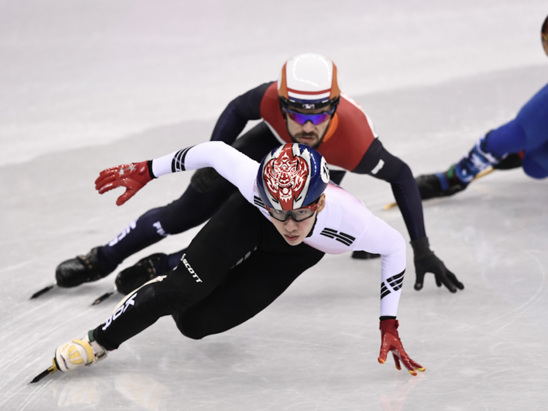 South Korea's Lim Hyojun takes the gold in the men's 1,500m short track speed skating A final event during the Pyeongchang 2018 Winter Olympic Games, at the Gangneung Ice Arena in Gangneung on February 10, 2018. 