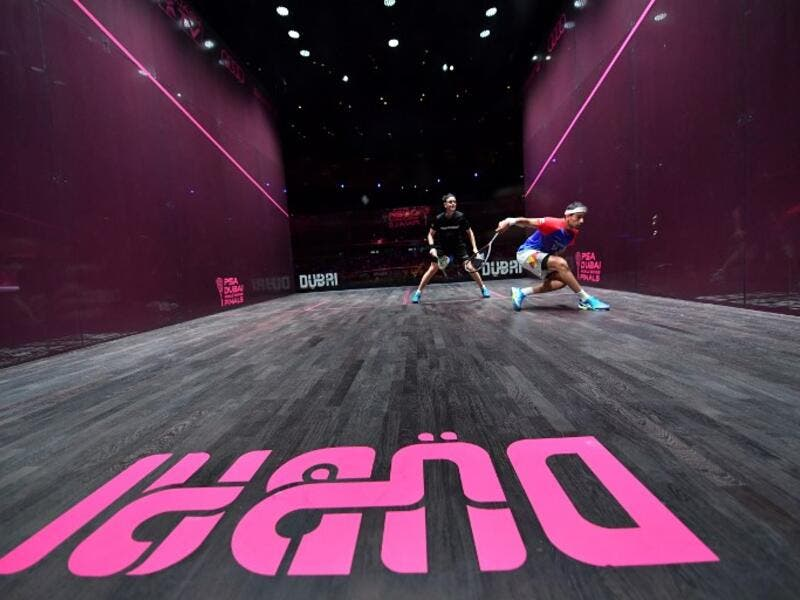 Mohamed El Shorbagy of Egypt (R) competes against James Willstrop of England during the finals of the PSA Dubai World Series Finals 2017 at Dubai Opera on June 10, 2017 in Dubai, United Arab Emirates.