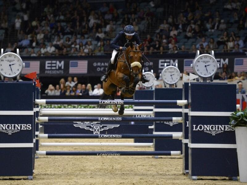 LONG BEACH, CA - OCTOBER 2: Nayel Nassar of Egypt during the Longines Grand Prix event at the Longines Masters of Los Angeles 2016 at the Long Beach Convention Center on October 2, 2016 in Long Beach, California. Robert Laberge/Getty Images/AFP