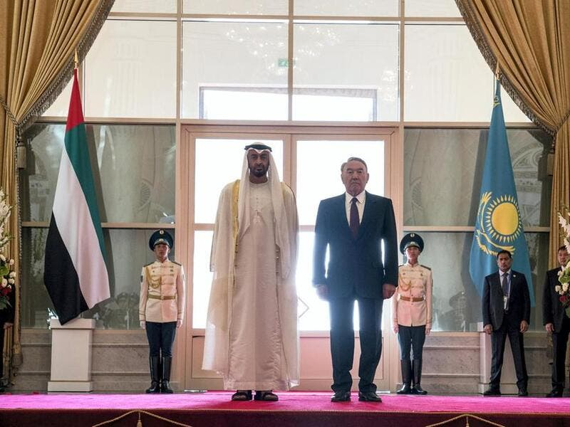 Sheikh Mohammed bin Zayed, Crown Prince of Abu Dhabi (L) and Nursultan Nazarbayev, President of Kazakhstan (R) in Astana during an official state visit in July 2018 /AFP