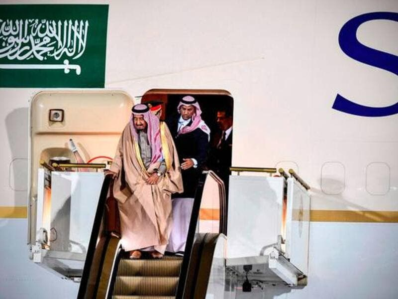 Saudi Arabia's King Salman bin Abdulaziz Al Saud gets off the plane upon his arrival at Moscow's airport. (AFP/ File Photo)