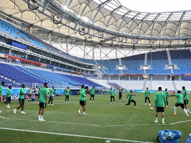 Saudi Arabia's players play with a ball during a training session at the Volgograd Arena in Volgograd on June 24, 2018, on the eve of the Russia 2018 World Cup Group A football match between Saudi Arabia and Egypt.