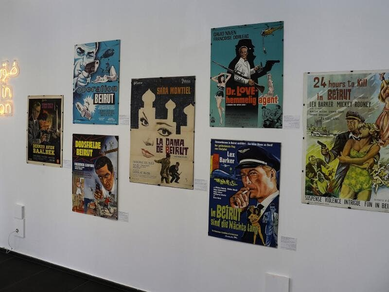 Vintage cinema posters are displayed at an art exhibition in the Lebanese capital Beirut  JOSEPH EID / AFP