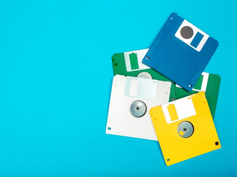 2. Floppy disks: Have you ever had to submit your assignment on one of these? If you're not familiar with these colorful squared-shaped devices, these were known as floppy disks and used to save up to 1.44 MB worth of data.