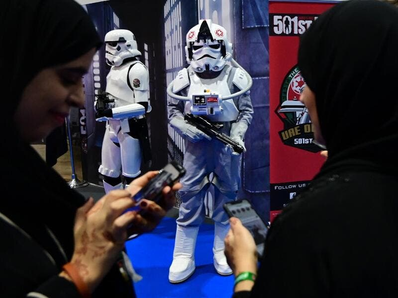 Cosplayers attend the Middle East Film & Comic Con on April 13 , 2019, in Dubai.  GIUSEPPE CACACE / AFP