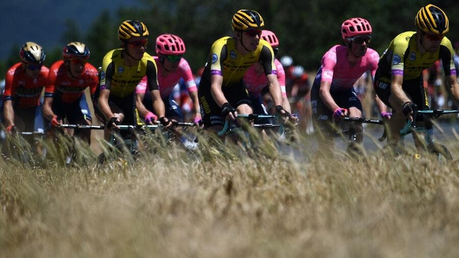 Bahrain-Merida teams during the fifth stage of the 71st edition of the Criterium du Dauphine cycling race, 201 km between Boen-sur-Lignon and Voiron on June 13, 2019.