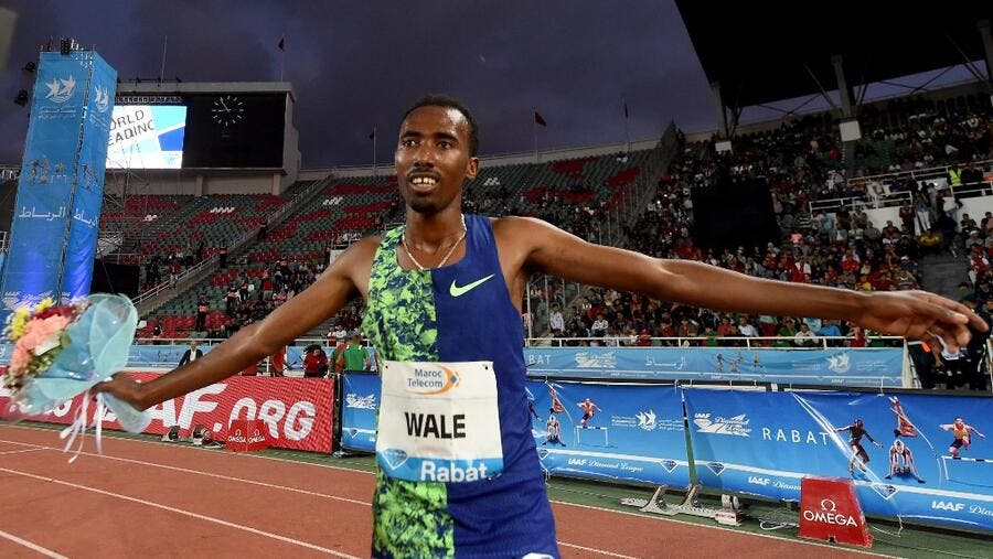 Ethiopia's Getnet Wale celebrates after winning the men's 3000m steeplechase during the IAAF Diamond League competition on June 16, 2019 in Rabat. FADEL SENNA / AFP