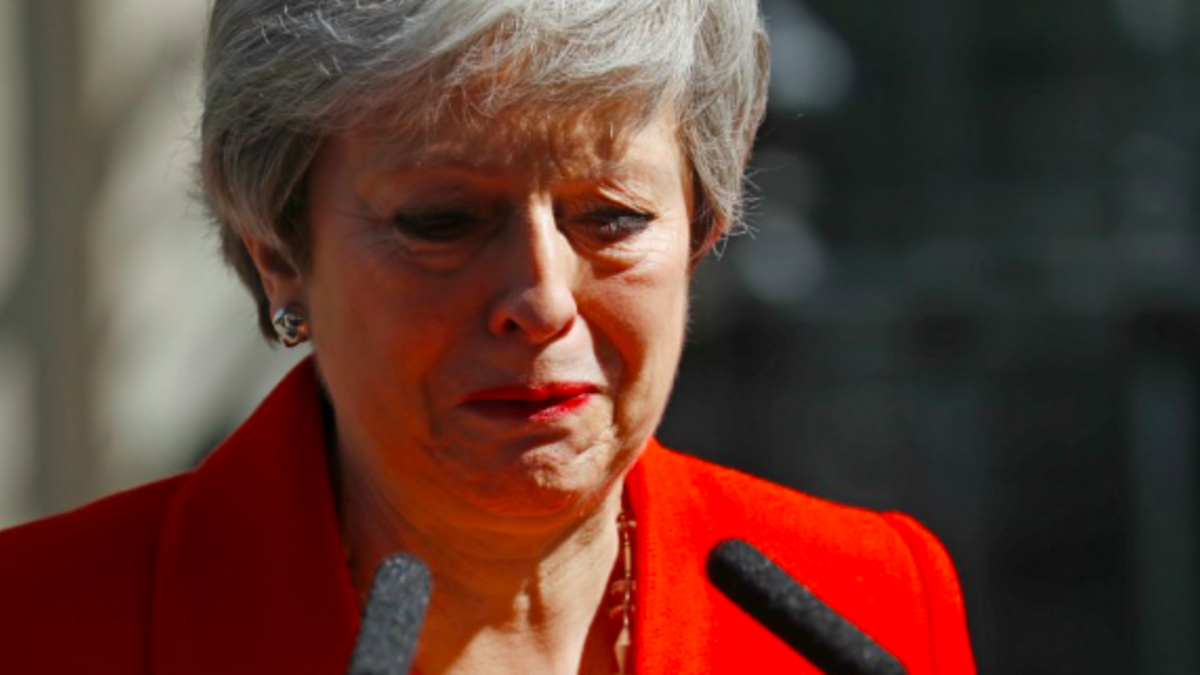 Theresa May after her resignation speech (AFP)
