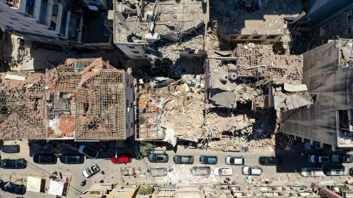 An aerial view shows damaged buildings in Beirut's neighbourhood of Gemayzeh, days after a huge chemical explosion hit the nearby port, devastating large parts of the Lebanese capital and claiming over 150 lives. AFP