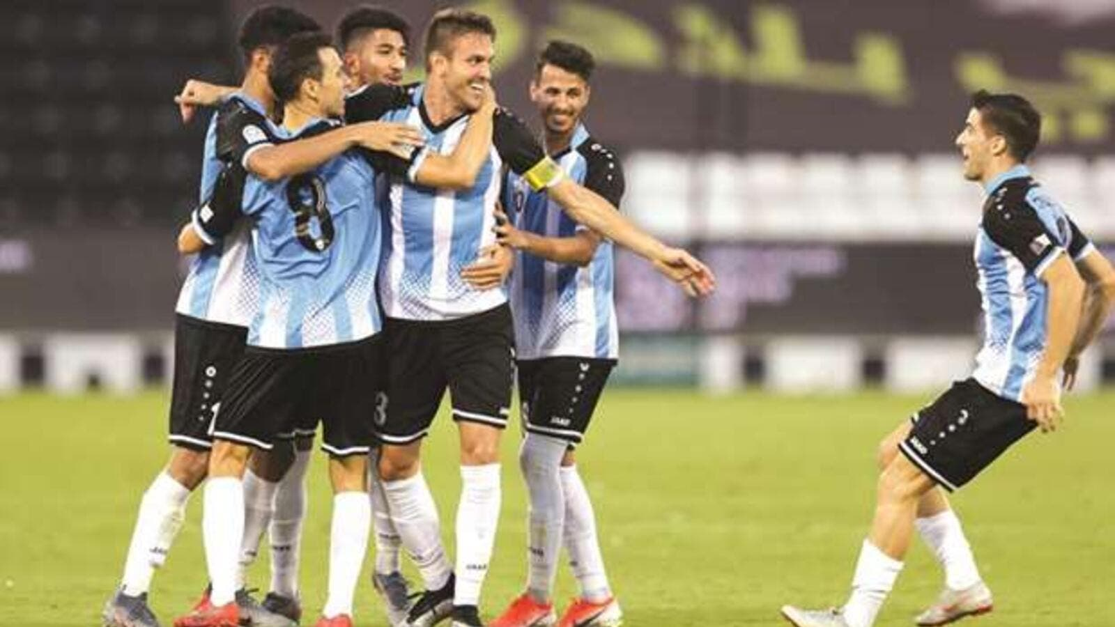 Al Wakrah captain Bruno Uvini (third right) celebrates with teammates during the 2-0 win over Qatar SC in the QNB Stars League.