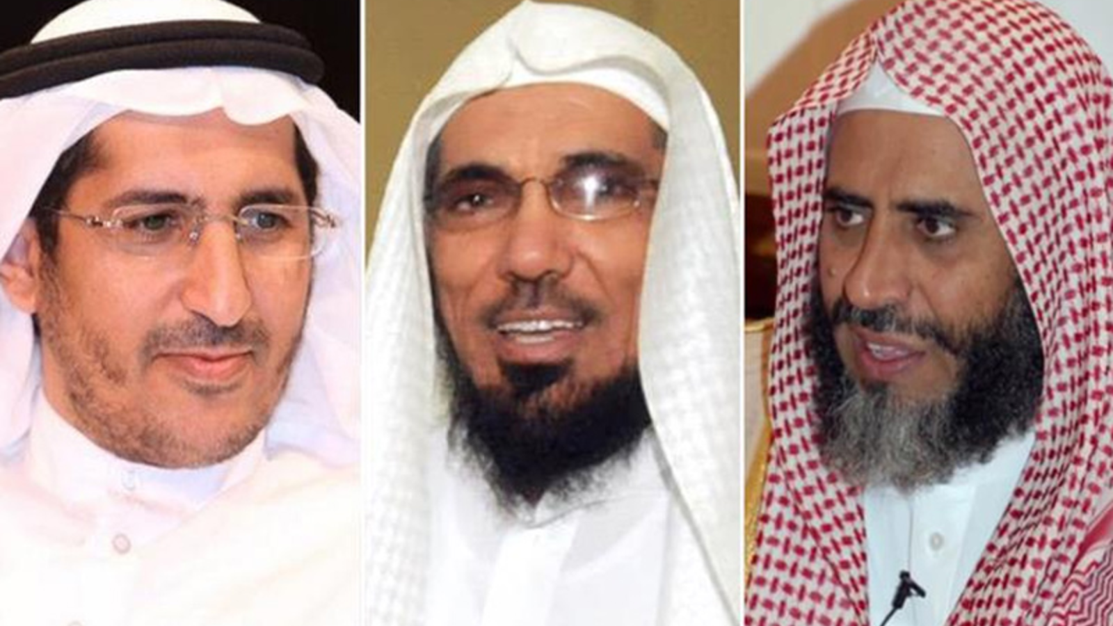 From left to right, Sheikh Salman al-Awdah, Awad al-Qarni, and Ali al-Omari. (Twitter)