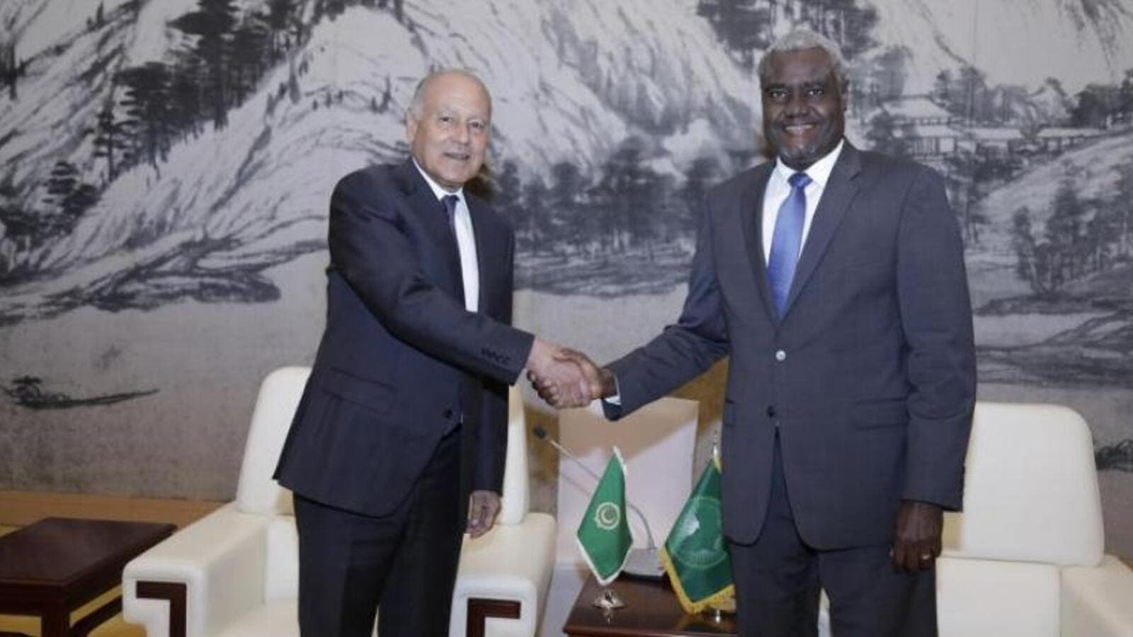 Secretary-General of Arab League (AL), Ahmed Aboul Gheit, and the Chairperson of the African Union Commission (AUC), Moussa Faki Mahamat during the meeting (African Union Commission (AUC))