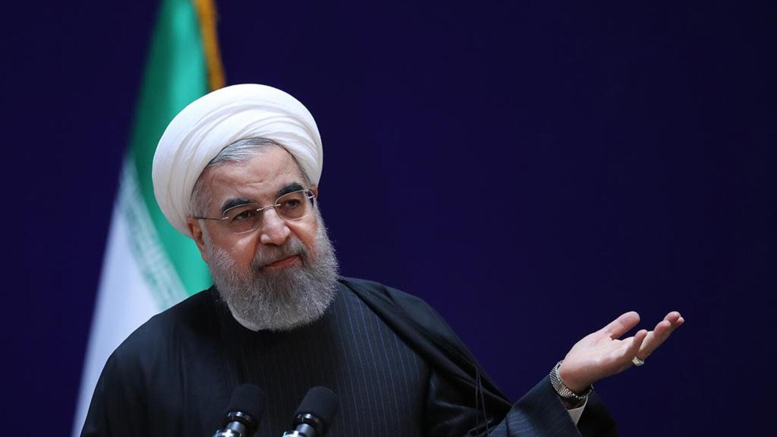 Iranian president Hassan Rouhani speaks at a conference in Tehran, on January 28.  (AFP/ File Photo)