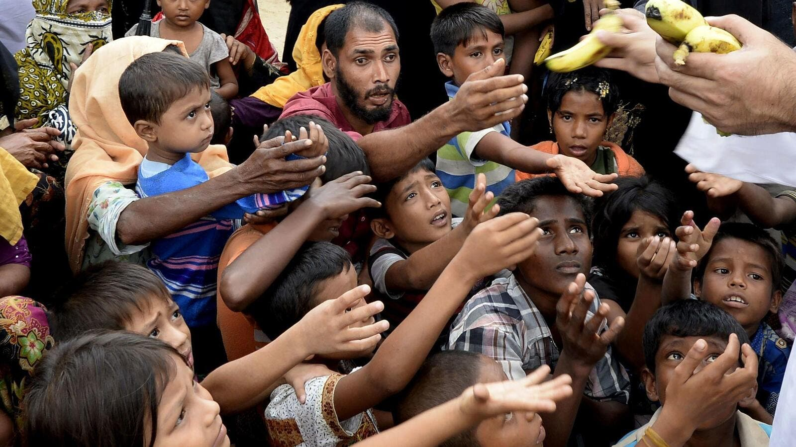 Rohingya refugees receive bananas from a Bangladeshi volunteer after crossing from Myanmar into Bangladesh at Shah Porir Dwip Island near Teknaf . (Tauseef Mustafa / AFP/Getty Images).