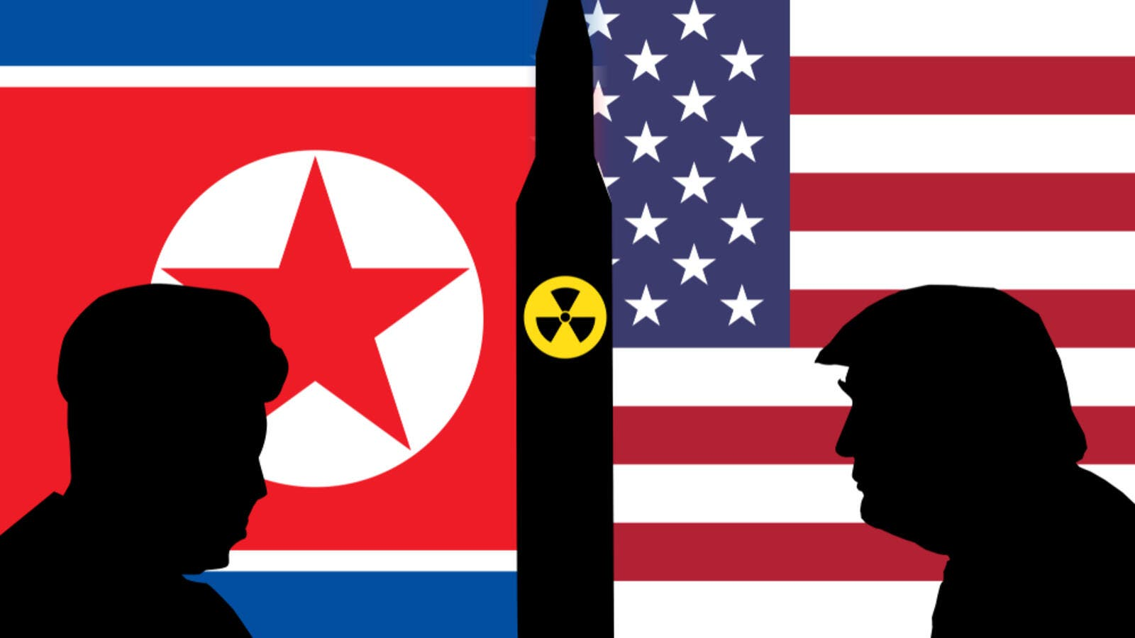 An illustration showing silhouettes of US President Donald Trump and North Korean Supreme leader Kim Jong Un. (Shutterstock/ File Photo)