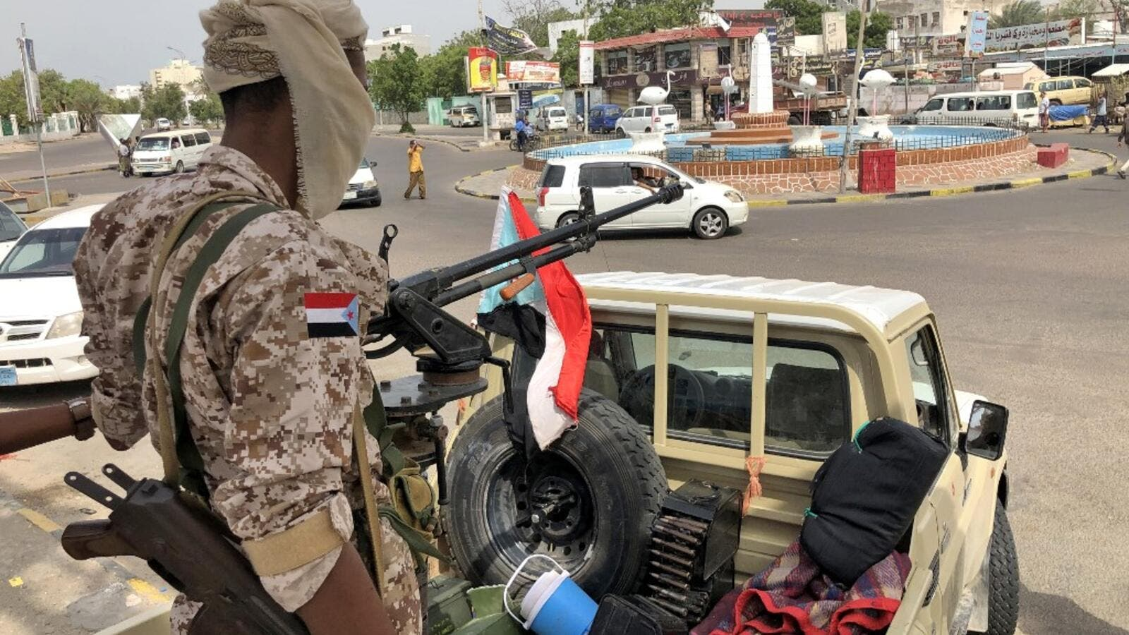 A fighter of the UAE-trained Security Belt Force, dominated by backers of the the Southern Transitional Council (STC) which seeks independence for south Yemen. (AFP/ File Photo)