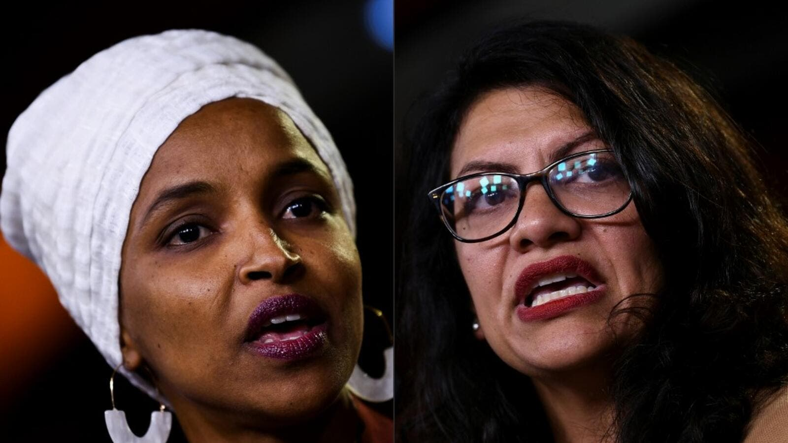 Democrat US Representatives Ilhan Abdullahi Omar (L) and Rashida Tlaib during a press conference, to address remarks made by US President Donald Trump earlier in the day, at the US Capitol in Washington, DC on July 15, 2019. (AFP/ File Photo)