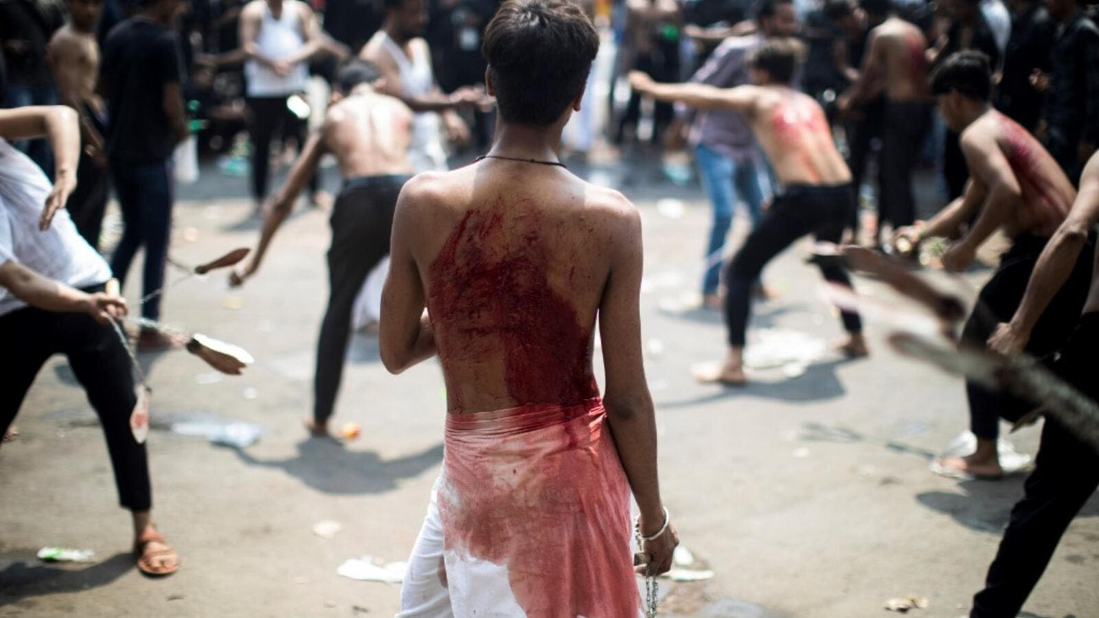 Shiite Muslim mourners flagellate themselves during a procession on the tenth day of Muharram which marks the day of Ashura, in New Delhi on September 10, 2019. (AFP/ File Photo)