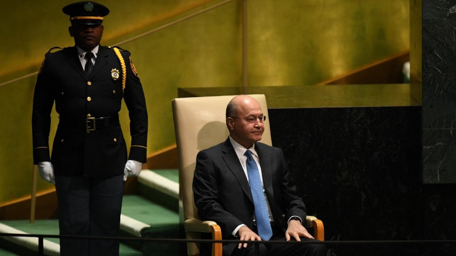 Barham Saleh, President of Iraq waits to speak during the 74th Session of the General Assembly at the United Nations headquarters in New York on September 25, 2019. (TIMOTHY A. CLARY / AFP)