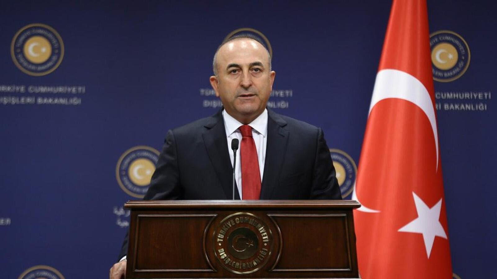 Turkish Foreign Minister Mevlut Cavusoglu gives a press conference in Ankara on July 25. (AFP/ File Photo)