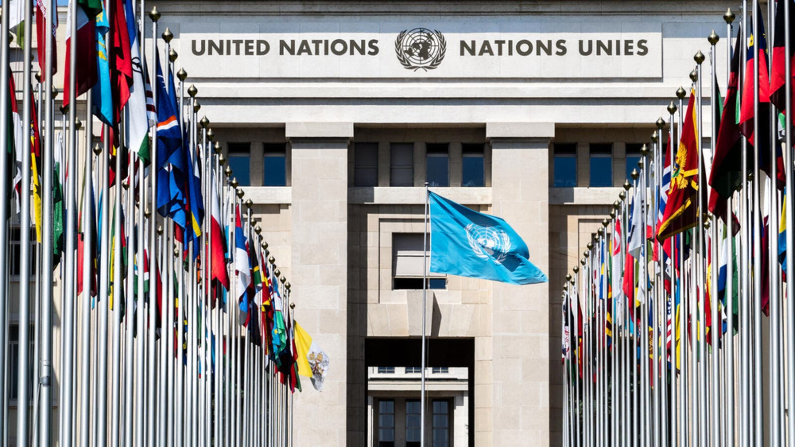 National flags at the entrance in UN office at Geneva, Switzerland. (Shutterstock/ File Photo)