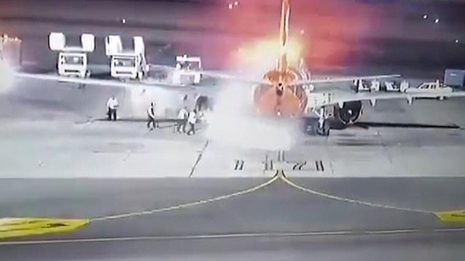 Plane Catches Fire After Landing in Egypt (Twitter)