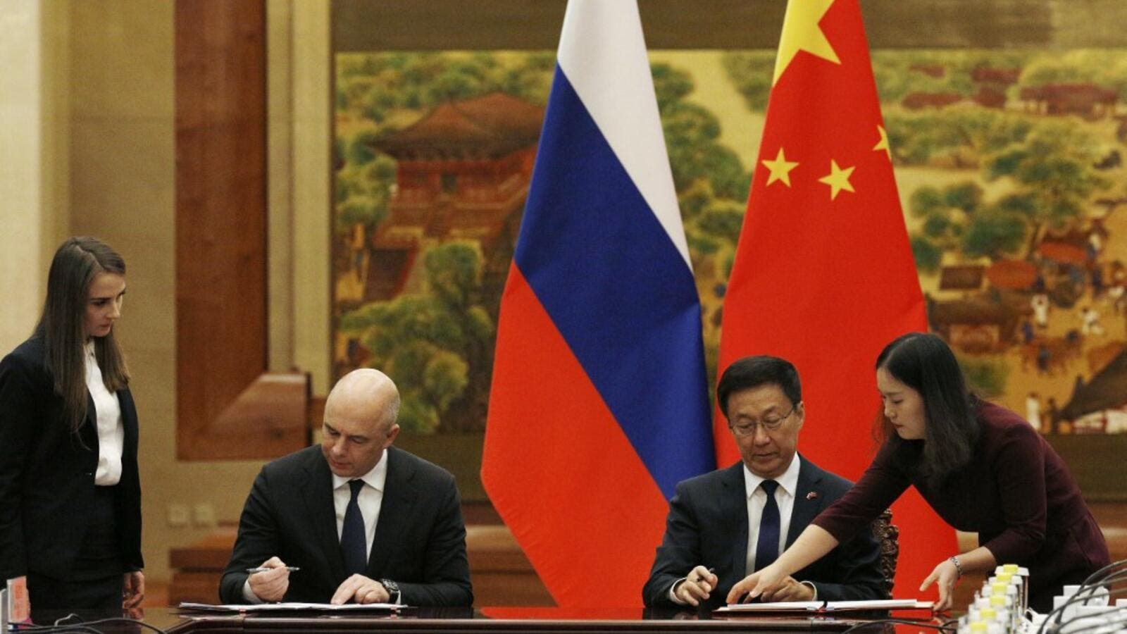 Russian First Deputy Prime Minister and Finance Minister Anton Siluanov attends a signing ceremony with Chinese Vice Premier Han Zheng at the Great Hall of the People in Beijing on November 26, 2019. FLORENCE LO / AFP