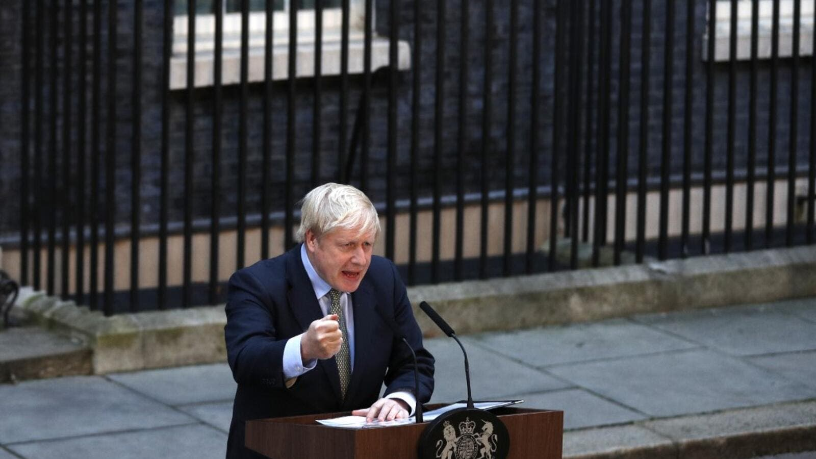 Britain's Prime Minister Boris Johnson delivers a speech outside 10 Downing Street in central London on December 13, 2019, following his Conservative party's general election victory. AFP