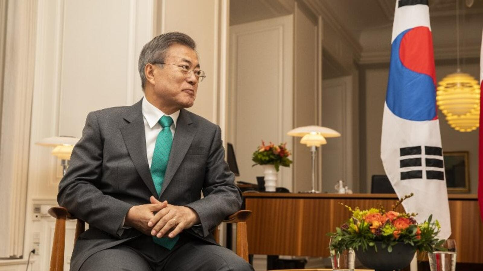 South Korean President Moon Jae-in meets with the Danish prime minister (AFP)