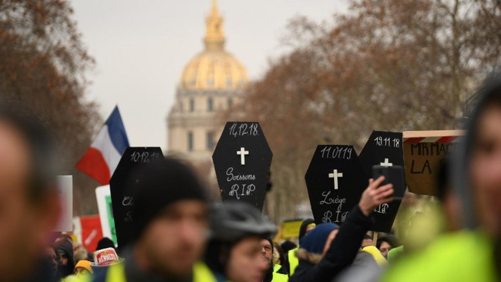 Protestors demonstrating for the 10th consecutive Saturday of the Yellow Vest protest near the Hotel des Invalides in Paris on January 19, 2019. (AFP/File)