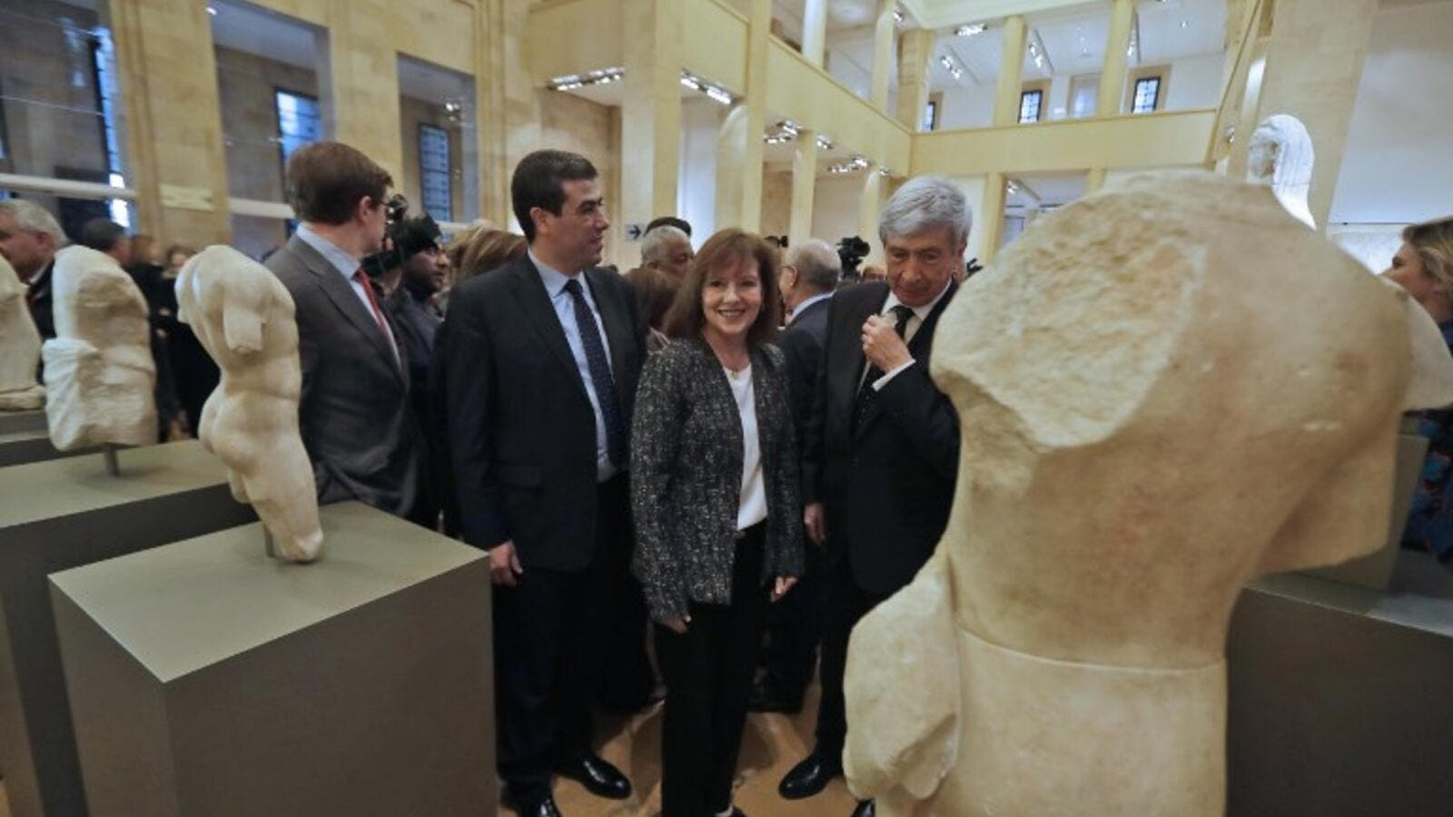 U.S. Ambassador to Lebanon Elizabeth Richards (C) inspects repatriated marble sculptures dating back to 4th to 6th centuries on display during a ceremony at Beirut National Museum in the Lebanese capital on February 2, 2018. The Lebanese Ministry of Culture and the Directorate-General of Antiquities repatriated in December 2017 and January 2018 five marble sculptures lost during the war in 1981. (JOSEPH EID / AFP)