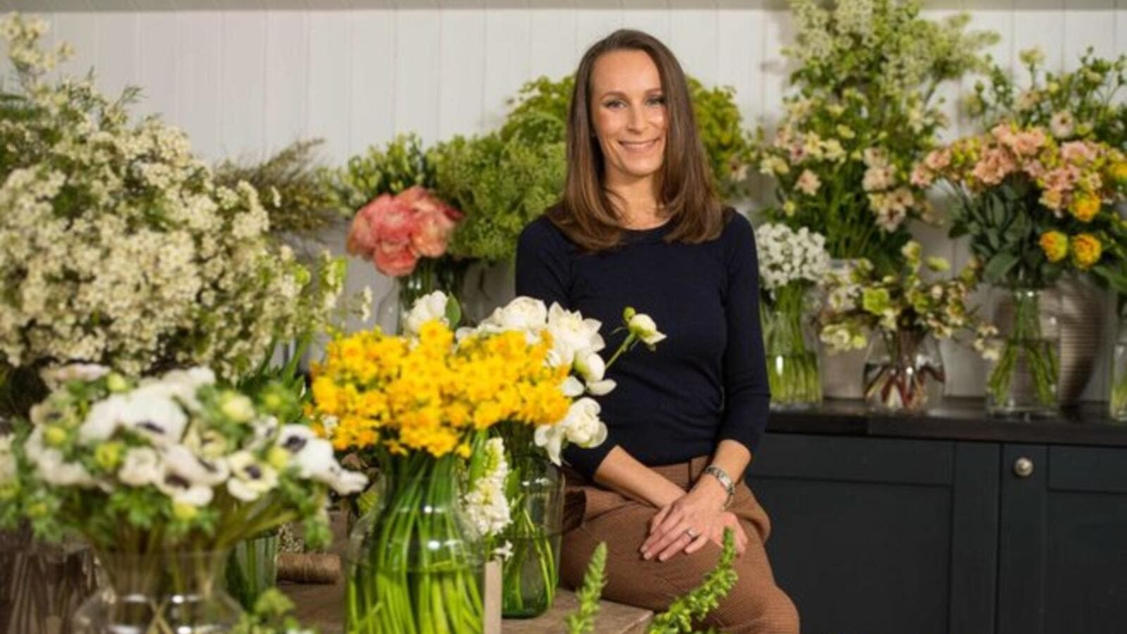 Florist Philippa Craddock poses for a photograph in her studio in London on March 29, 2018. (Source: AFP)