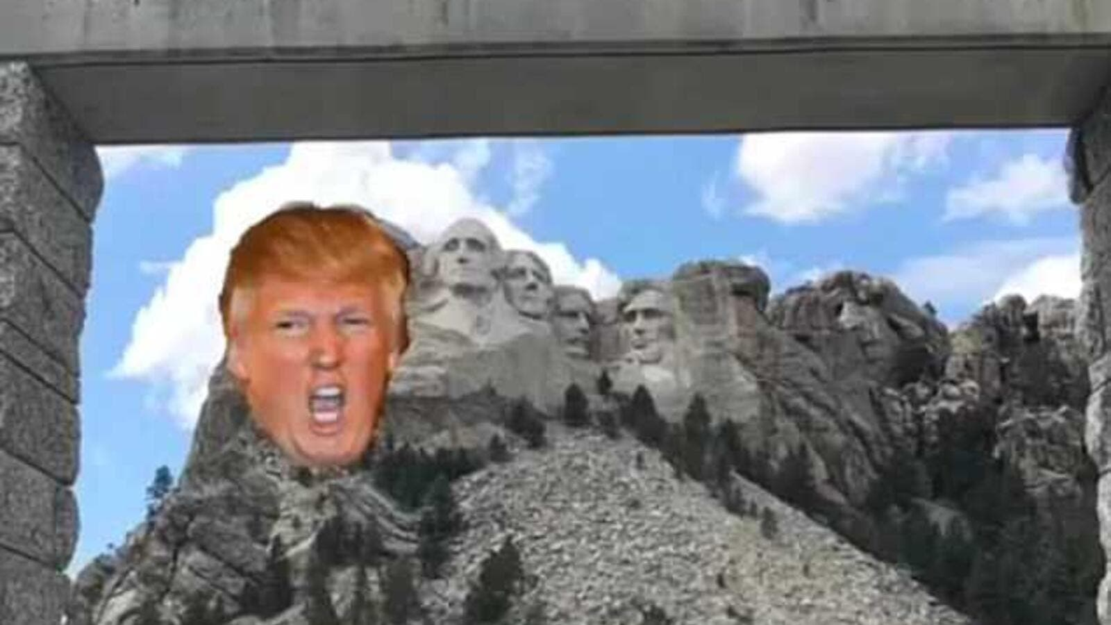 The eldest son of Donald Trump posted an image to his Instagram with the President's head superimposed on Mount Rushmore (Instagram)