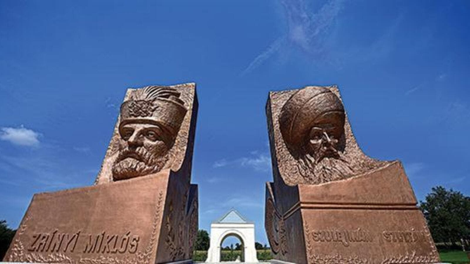 Statues of rival military leaders of 16th century, Ottoman Sultan Suleiman (R) and his opponent Miklos Zrinyi (L), are seen at the Hungarian-Turkish friendship park near Szigetvar. (AFP)