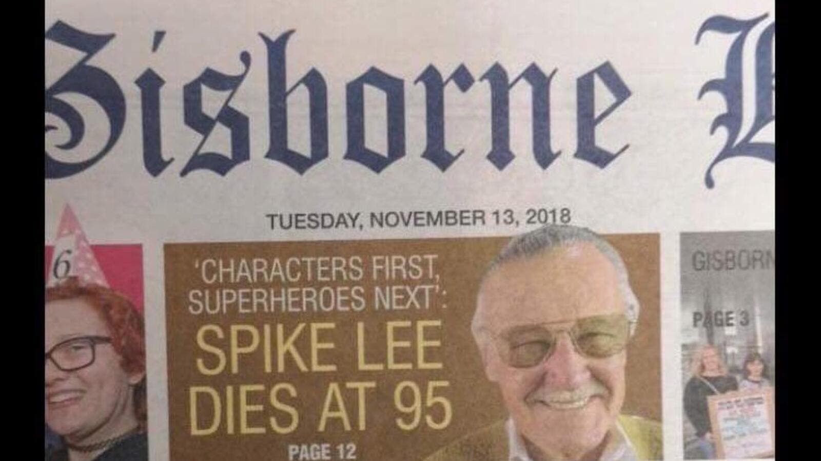 Social media erupts after New Zealand newspaper accidentally pays tribute to Spike Lee following Stan Lee's death (Twitter)