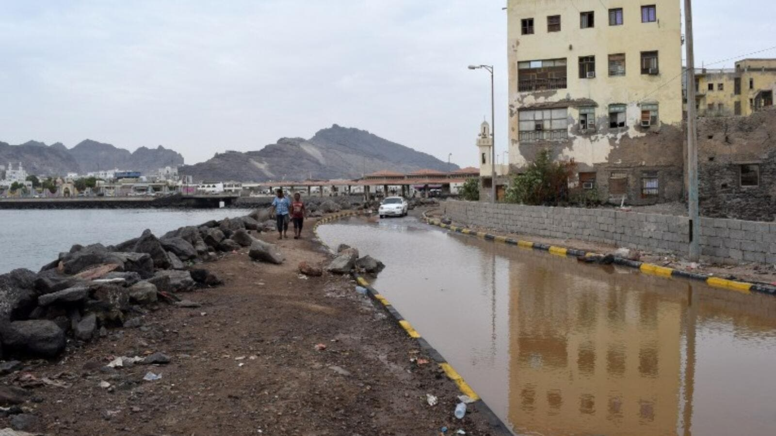 Yemen's southern port city of Aden remains flooded from cyclone Chapala, and another cyclone is on the way. (AFP/Saleh Al-Obeidi)