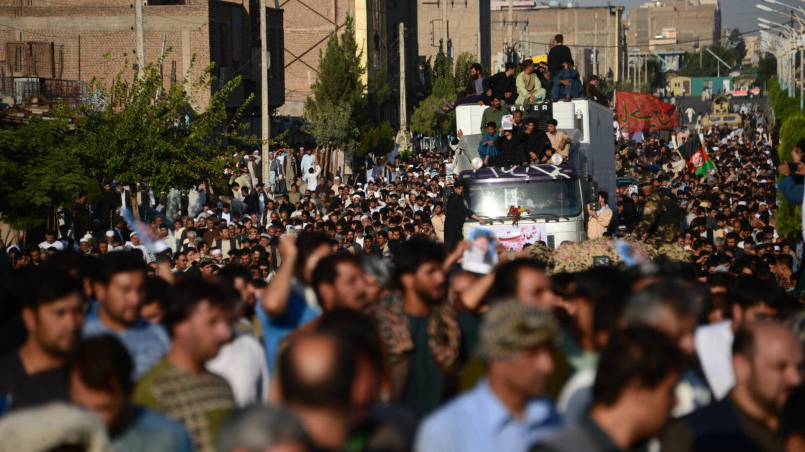 Afghan protesters shout against the Islamic State group following a mosque attack that killed 33 people. (AFP/ File)
