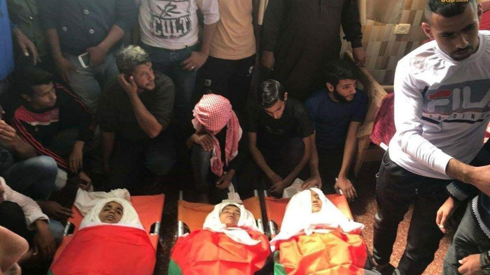 Farewell of the 3 Palestinian children (under 13 years old) who were killed in cold blood by an Israeli drone airstrike in Gaza. (Twitter)