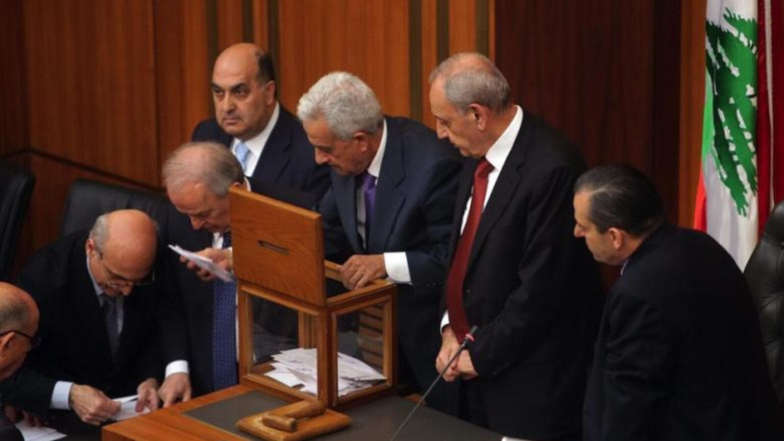 Lebanese members of parliament count the votes after casting their ballots to elect the new Lebanese president in the parliament building in downtown Beirut on April 23, 2014. (AFP/Joseph Eid)