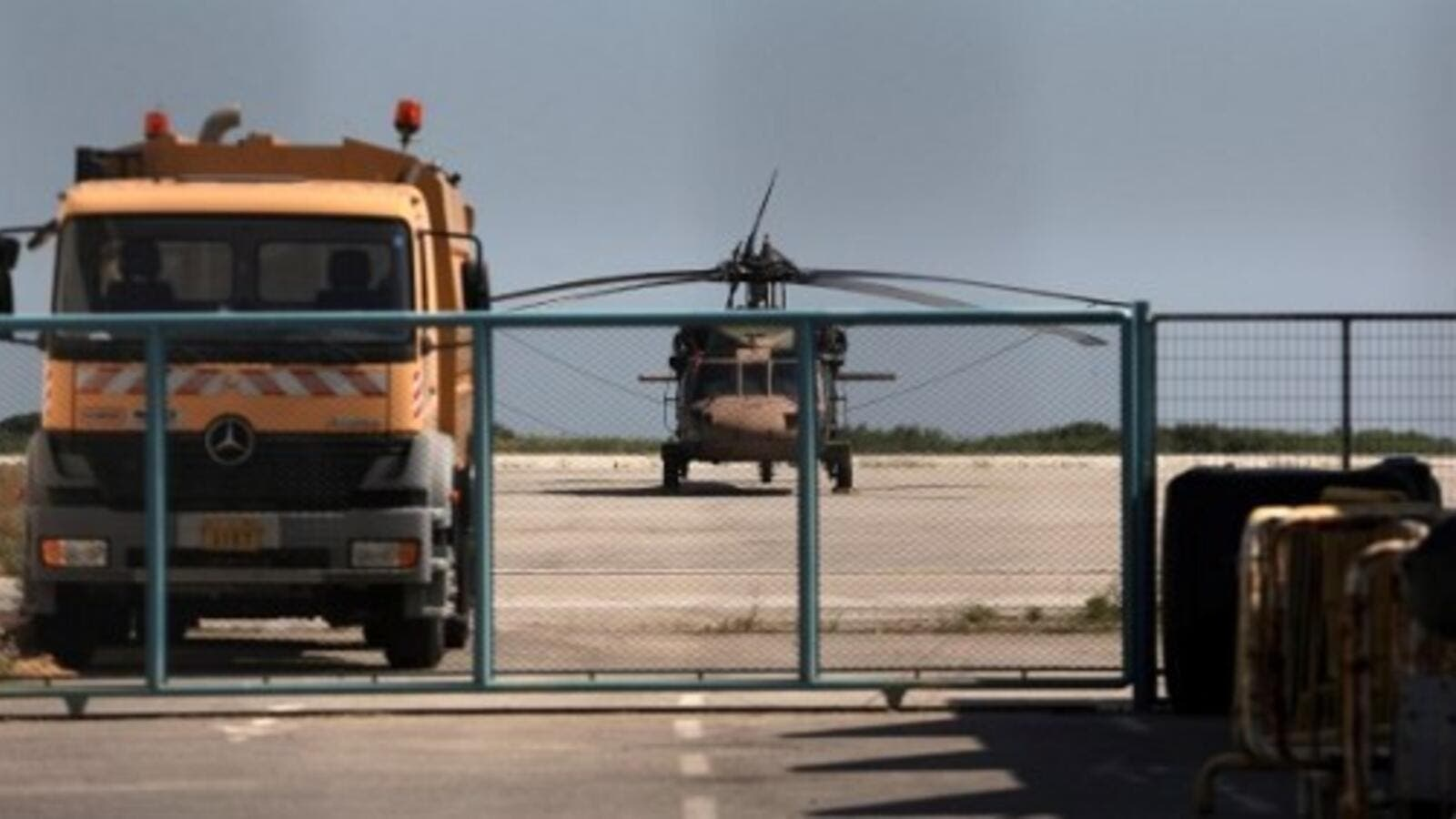 A photo taken on July 16, 2016 shows a Turkish military helicopter at Alexandroupolis airport, after landing there carrying eight officers seeking asylum after a failed coup in Turkey the night before. (AFP/Sakis Mitrolidis)