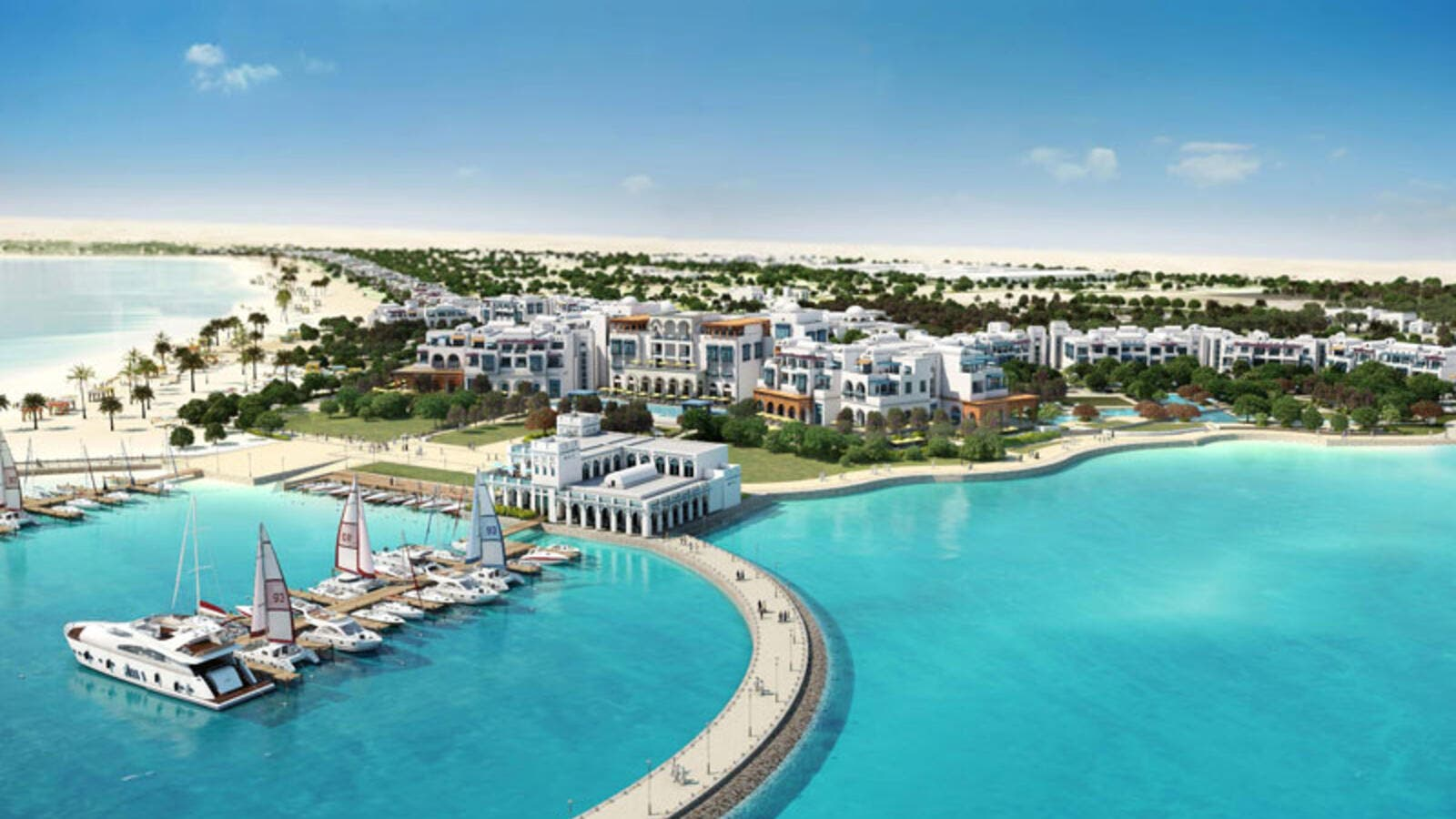 Hilton Salwa Beach Resort & Villas Hilton will include a water park, marina, dive center, cinemas, pools, health club, spa and retail space. (Hill International)
