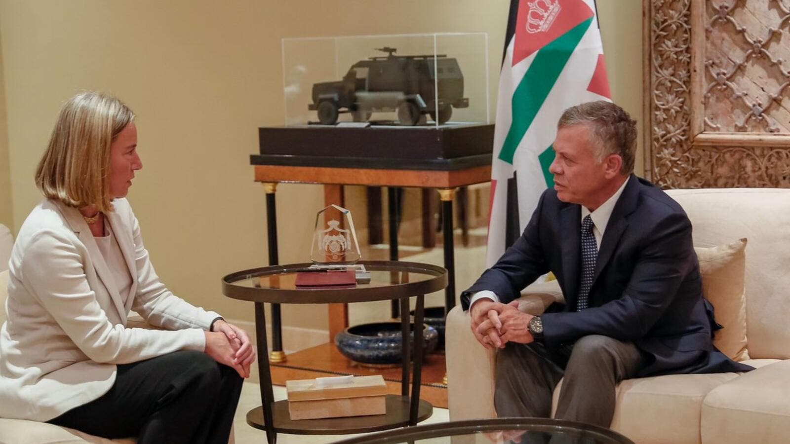 King Abdullah  met, Saturday, with EU High Representative for Foreign Affairs and Security Policy Federica Mogherini (Twitter)