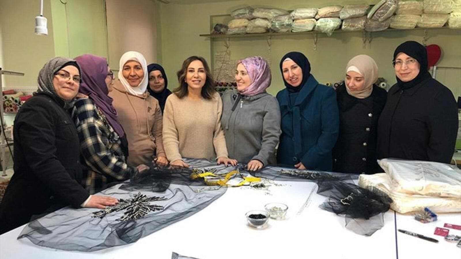 Syrian refugees' fabric showcased at London. (Twitter)