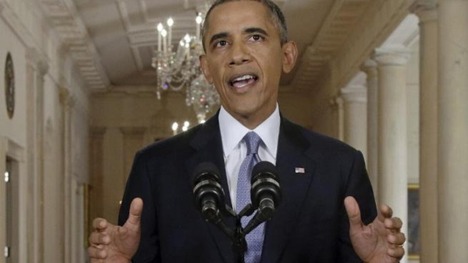 In a televised address, President Obama promised to pursue a diplomatic solution to the crisis in Syria.
