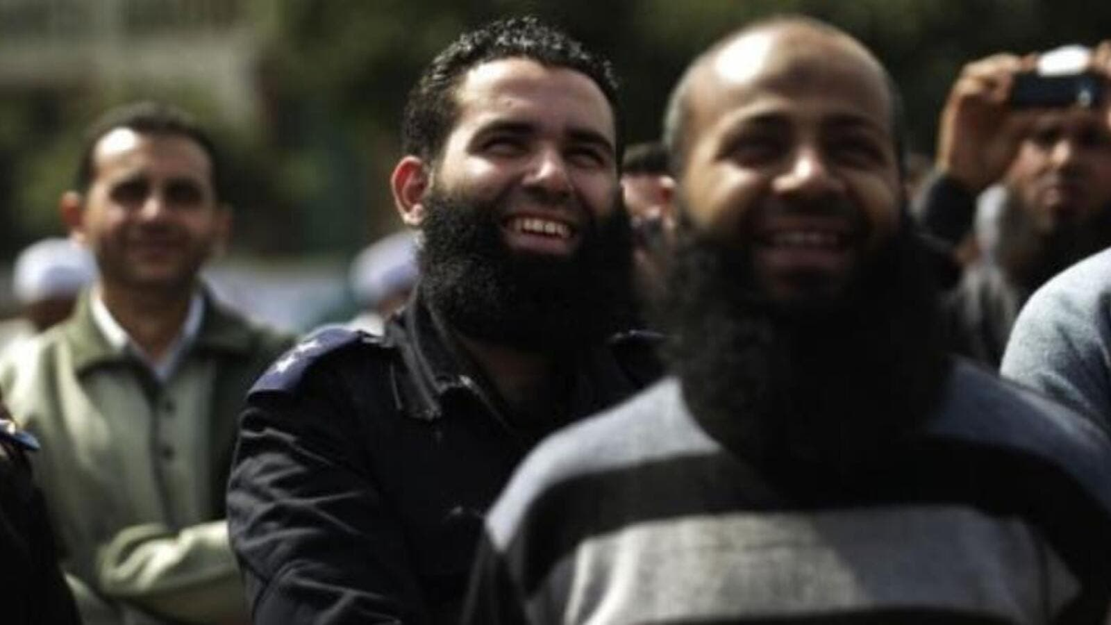 A bearded Egyptian police officer takes part in a protest in Cairo. (AFP/ File)