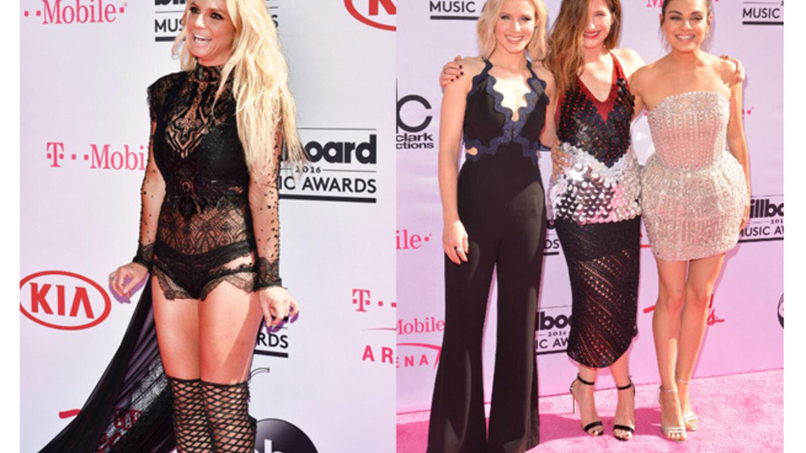 Britney wore Reem Acra while Mila Kunis and Jessica Alba chose Zuhair Murad for Billboard's red carpet. (AFP/David Becker/Bryan Haraway)