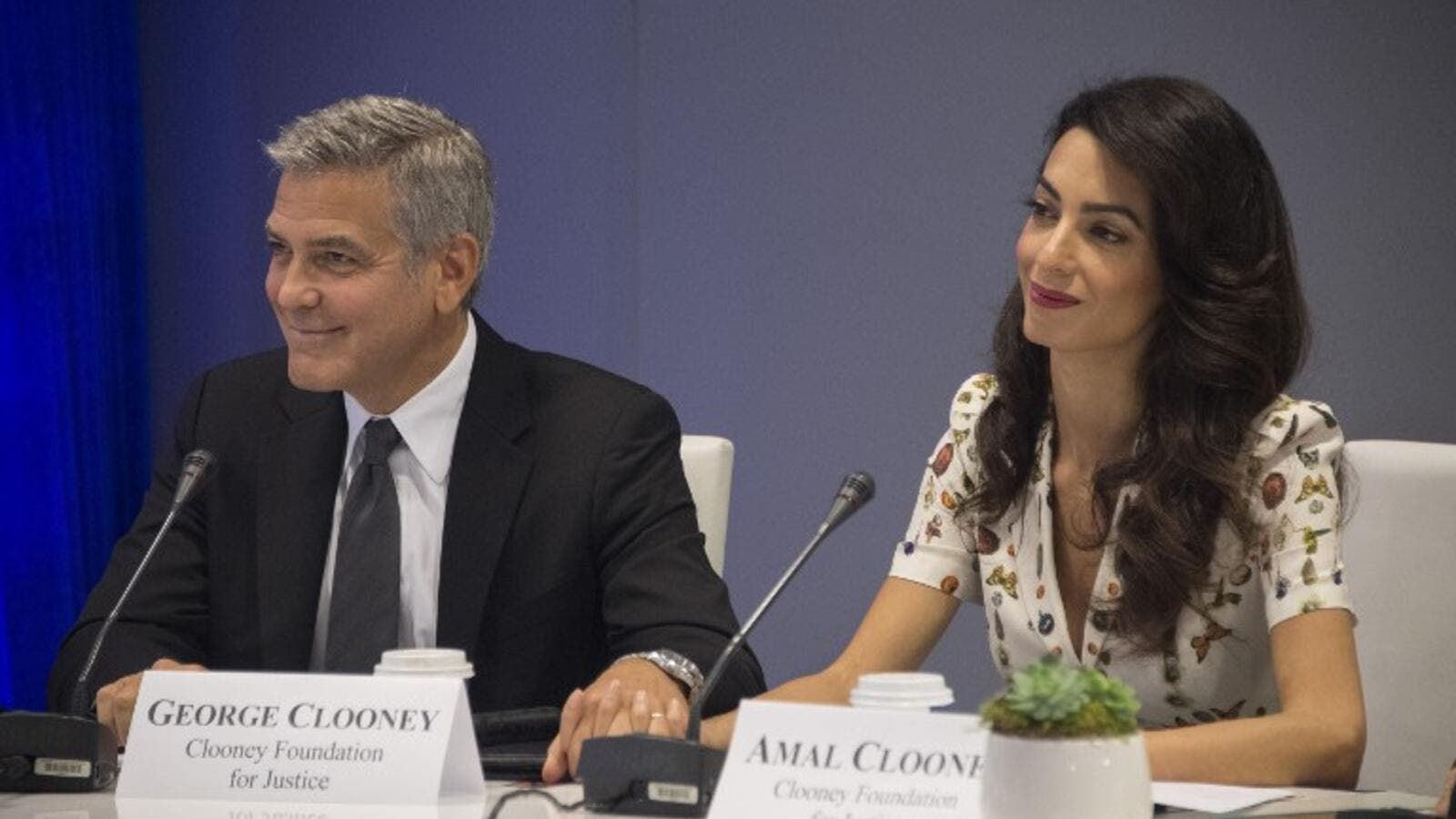 George and Amal at the CEO Roundtable, on the sidelines of the 71st session of the UN General Assembly in New York.  (AFP/Jim Watson)