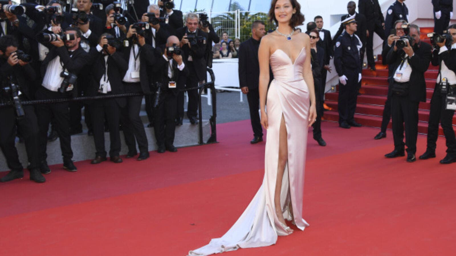 Bella Hadid arrives at Cannes in style. Momentarily. (AFP)