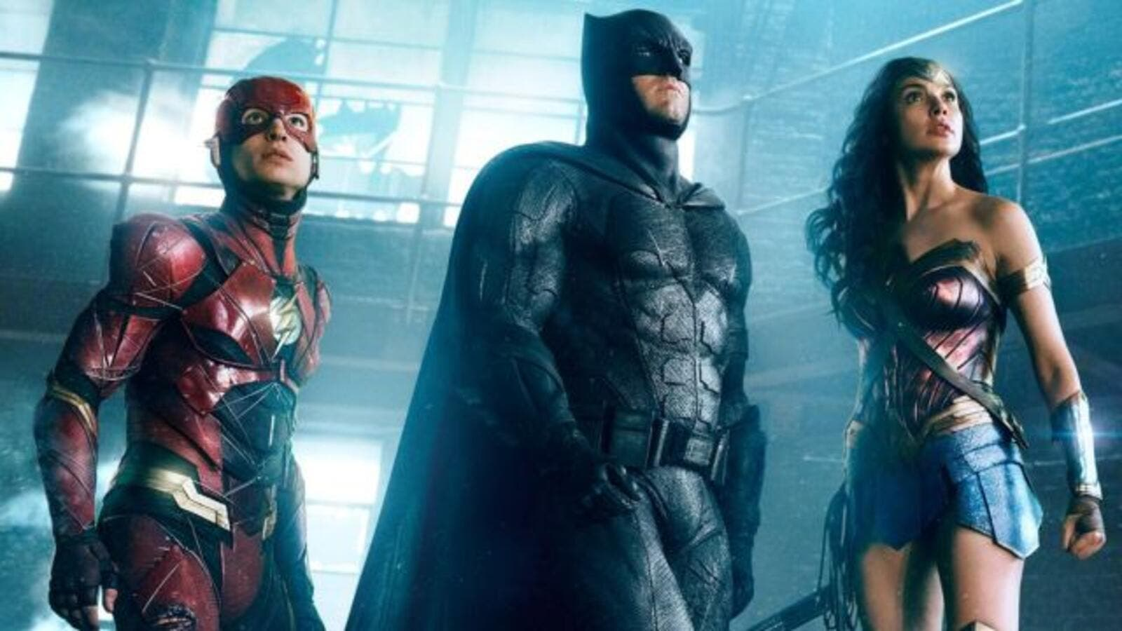 "Flash, Batman, and Wonder Woman pose heroically in the ""Justice League"" movie. (Warner Bros. Pictures)"
